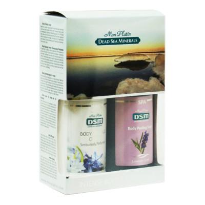 Подарочный набор для женщин для тела (Мыло-пилинг для тела (лаванда) 400мл + Крем для массажа тела с чувственным ароматом 400мл)