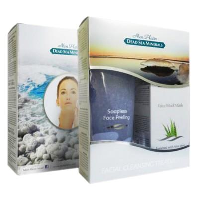 Подарочный набор для женщин для лица (Крем-пилинг для лица без  содержания мыла сиреневый 250мл + Грязевая маска для лица 150мл)